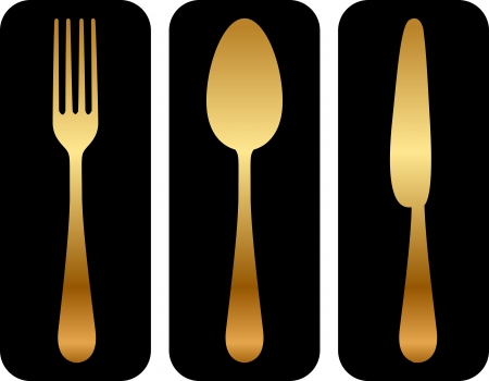 Vector gold cutlery icon on black background Vector