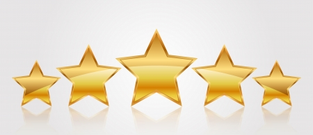 five stars: Vector illustration of 5 gold stars