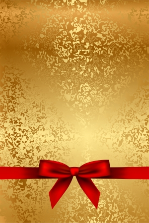 Vector gold texture with red bow Stock Vector - 20337814