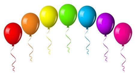 globos de cumpleaños: Ilustración vectorial de arco de globos Vectores