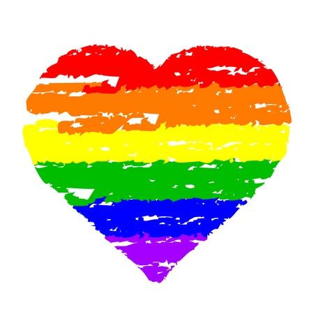 bandera gay: Ilustración vectorial de corazón colorido Vectores