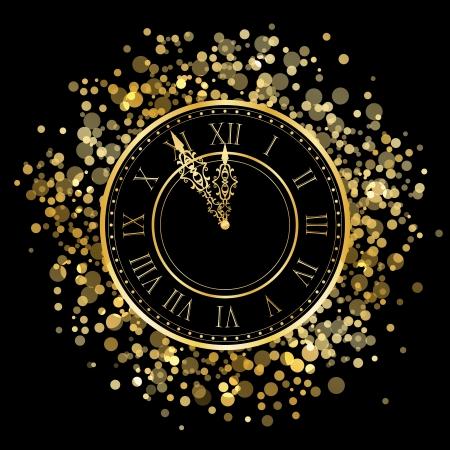 Vector shiny New Year Clock Vector