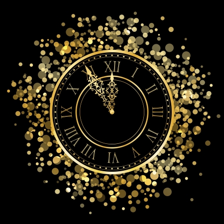 number 12: Vector shiny New Year Clock