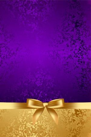 fiocco oro: Vector sfondo di lusso con arco d'oro