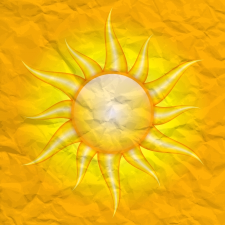 Damage by the sun - vector crumpled background with sun Illustration