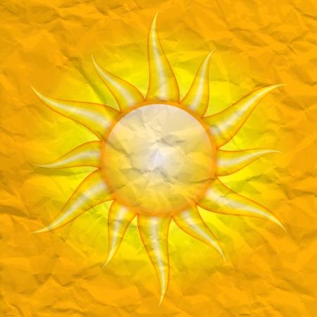 zarar: Güneş tarafından hasar - vektör güneş arka plan buruşuk