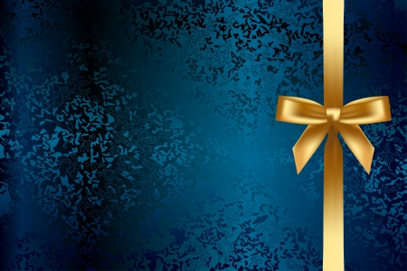 Vector turquoise background with gold bow Vector