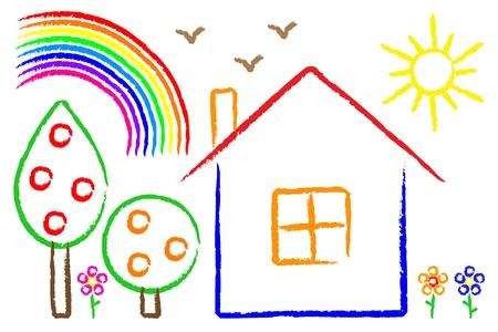 pink roof:  childish painting