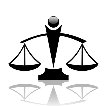 acquittal: illustration of justice scales icon Illustration