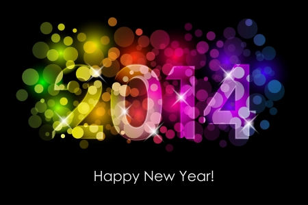 sylwester: Happy New Year - 2014 kolorowe tło
