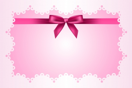 Baby pink frame with lace and ribbon Vector
