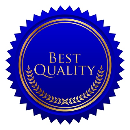 quality service: illustration of blue seal with gold laurels Illustration
