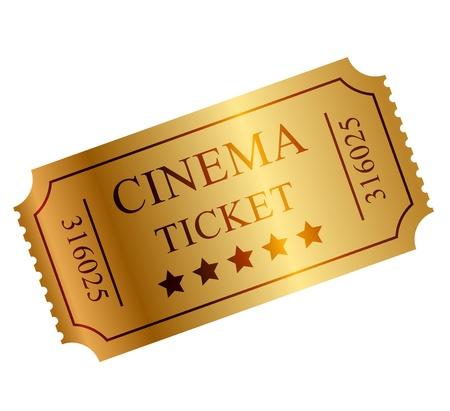 illustratie van gouden ticket Stock Illustratie
