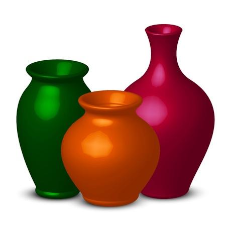 ewer: illustration of colorful vases Illustration