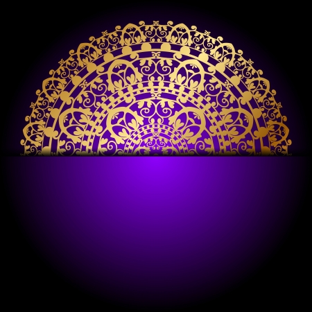gold ornament on purple background Vector