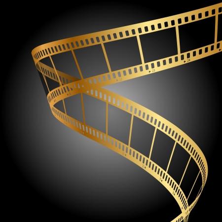 carrete de cine: fondo con tira de pel�cula de oro