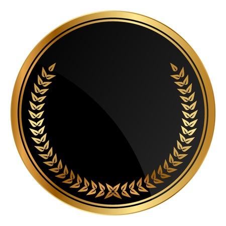 ゴールドの栄冠を持つ黒のメダル  イラスト・ベクター素材