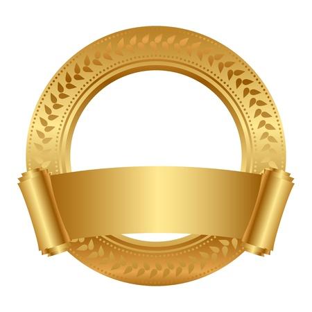 floral frame met goud scroll Stock Illustratie