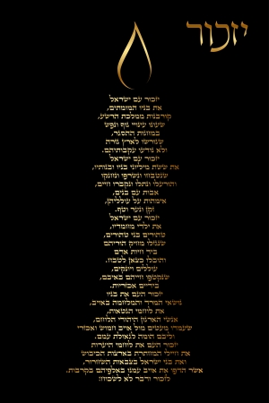 Yizkor prayer - to Holocaust victims  Hebrew  In the form of a memorial Illustration