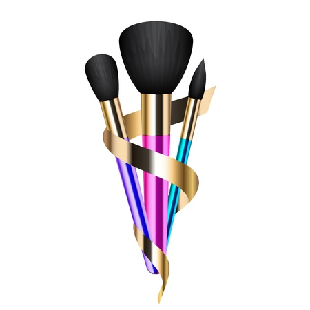 cosmetics collection: illustration of colorful make-up brushes Illustration