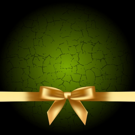 ornamented: green background with gold bow Illustration