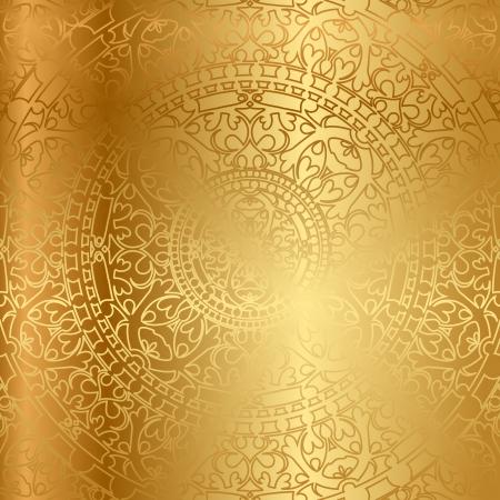 オリエンタルな装飾とゴールドの背景  イラスト・ベクター素材