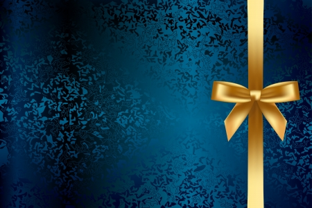 rugged: turquoise background with gold bow