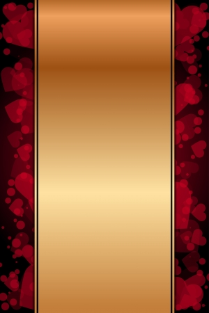 gold background with red hearts Stock Vector - 20940769