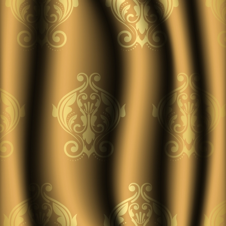 illustration of vintage material with gold pattern