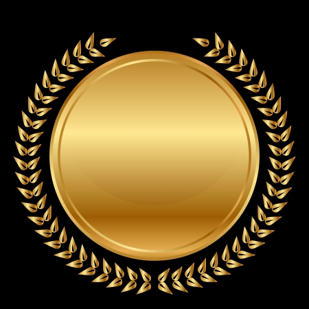 gold medal and laurels on black background Vector