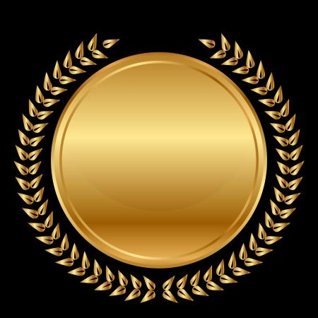 gouden medaille en lauweren op zwarte achtergrond Stock Illustratie
