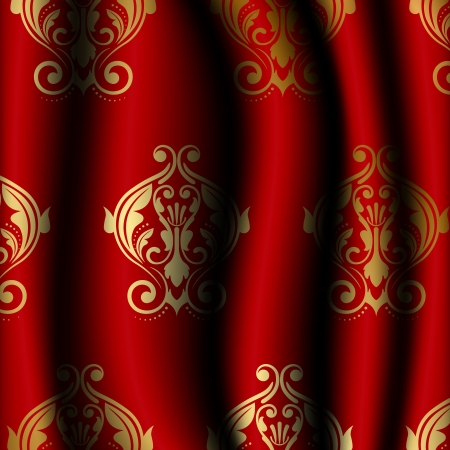 illustration of luxury red material with gold pattern Vector