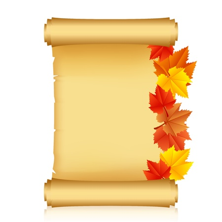 illustration of scroll with autumn leaves Vector
