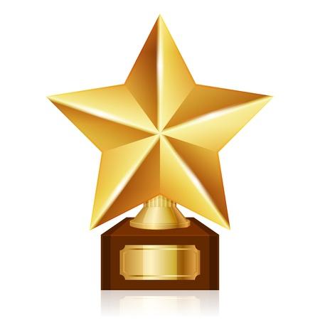 trophy award: premio estrella de oro Vectores