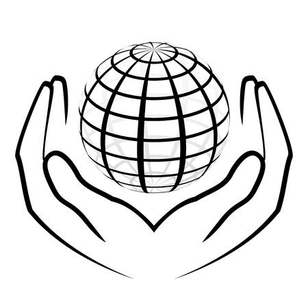 simbolo de paz: ilustraci�n de las manos que sostienen un globo