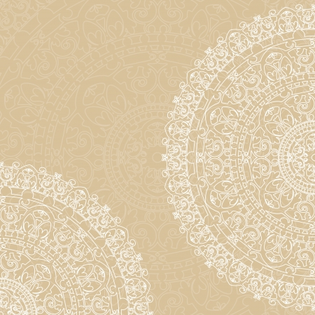 white doilies on beige background 向量圖像