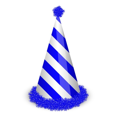 new year's cap: illustration of blue birthday cap
