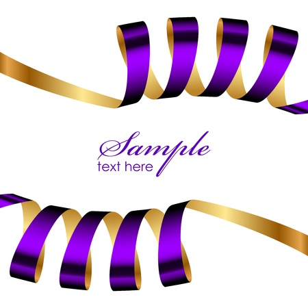 purple and gold ribbon frame Vector