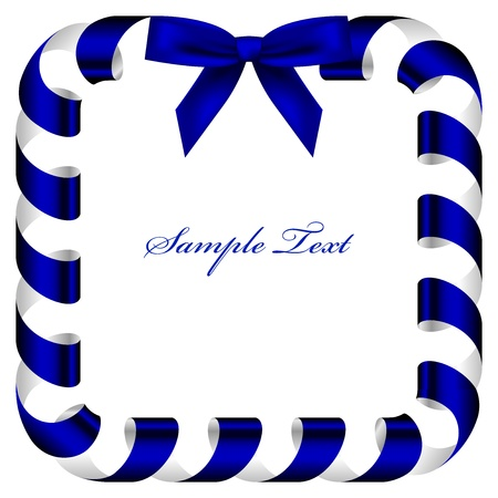 frame with blue ribbon Stock Vector - 21132665