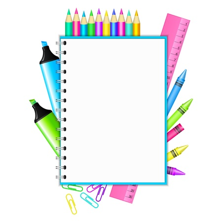 Back to school   frame with colorful stationery Фото со стока - 21132667