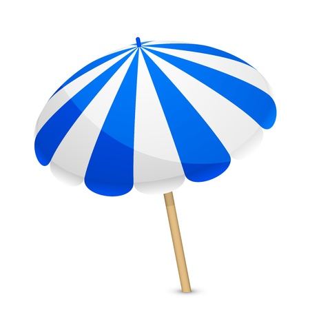 illustration of blue and white parasol