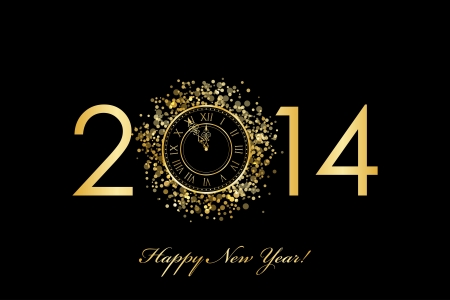 Vector 2014 Happy New Year background with gold clock Stock Vector - 21594292