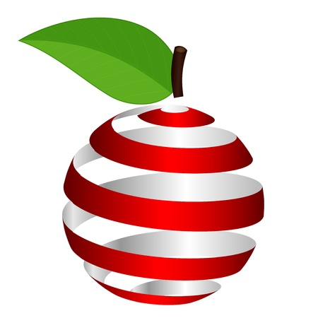 green apple isolated: Vector apple from ribbon Illustration