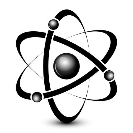 researcher: Vector black atom icon