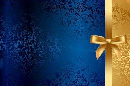 fiocco oro: Vector sfondo turchese e oro con fiocco Vettoriali