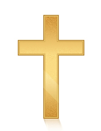 jesus on the cross: Vector illustration of golden cross