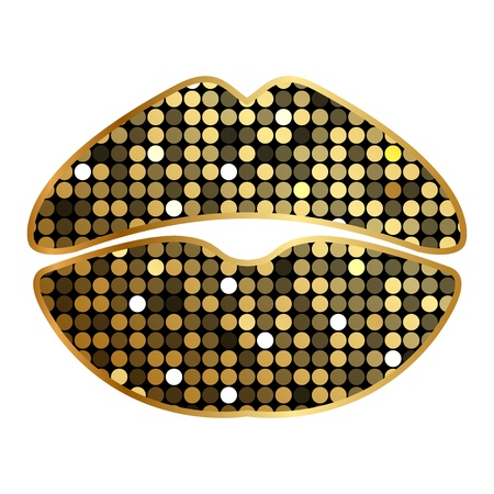 Vector lipstick print with sparkles Vector