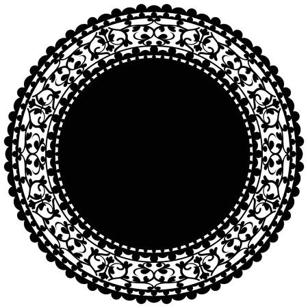 circular silhouette: Vector illustration of black doily