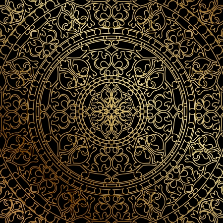 Vector black background with gold oriental ornament Vector