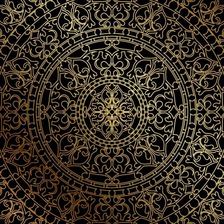 Vector schwarzen Hintergrund mit gold orientalisch Ornament Standard-Bild - 21594311